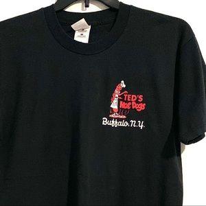 Teds Hot Dogs Buffalo NY Black Novelty T-shirt L
